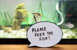 O lembrete escrito a satisfazer alimenta os peixes fotos de stock