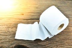 O lenço de papel branco pôs sobre a casca velha, madeira sob a luz solar Imagens de Stock