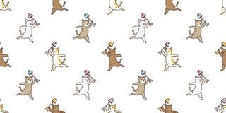 O lenço salmon dos desenhos animados dos peixes da raça da chita do gatinho de Cat Seamless Pattern isolou o papel de parede do f ilustração royalty free