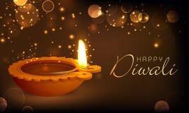 O óleo bonito iluminou a lâmpada para a celebração feliz de Diwali Imagem de Stock
