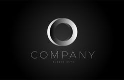 O black white silver letter logo design icon alphabet 3d Stock Photography