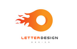 O Letter Flame Logo Design. Fire Logo Lettering Concept. Royalty Free Stock Image