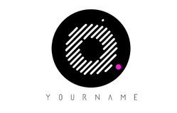 O Letter Logo Design with White Lines and Black Circle royalty free stock photo