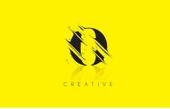 O Letter Logo with Vintage Grundge Drawing Design. Destroyed Cut Royalty Free Stock Image