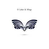 O-letter sign and angel wings.Monogram wing vector logo template Stock Image