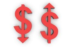 O levantamento e a redução do dólar Imagens de Stock Royalty Free