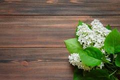 O lilás bonito em um fundo de madeira Imagem de Stock Royalty Free
