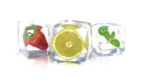 O limão da morango e uma hortelã folheiam em cubos de gelo rendição 3d Imagem de Stock