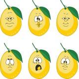 O limão do amarelo dos desenhos animados da emoção ajustou 004 Foto de Stock Royalty Free
