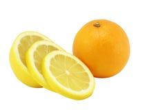 O limão e a laranja do corte. Fotografia de Stock Royalty Free