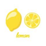 O limão frutifica cartaz ao a descrição do estilo dos desenhos animados inteira e o meio de citrinos suculentos frescos no fundo  Imagem de Stock Royalty Free