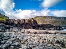 O litoral com as pegadas raras do dinossauro do tracksite sauropod-dominado do nam Brathairean de Rubha, irmãos fotos de stock
