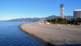 O litoral da terraplenagem de Batumi em outubro video estoque