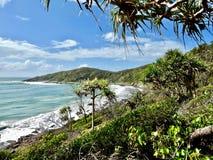 O litoral por Noosa dirige Austrália fotografia de stock royalty free