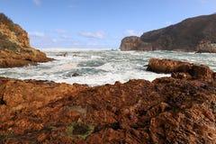 O litoral rochoso perto do Knysna dirige, África do Sul fotografia de stock royalty free