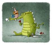 O livro de leitura da princesa ao dragão com aumentou ilustração stock
