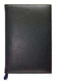O livro de nota de couro preto isolou-se Fotos de Stock Royalty Free