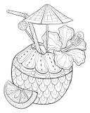 O livro para colorir adulto, pagina uma imagem bonito do suco do coco para a atividade de relaxamento ilustração royalty free