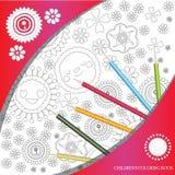 O livro para colorir com flores abstratas vive Fotografia de Stock Royalty Free