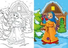 O livro para colorir da menina pobre alimenta um pássaro Ilustração Stock