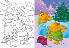 O livro para colorir das pescas à corrica obteve o presente do Natal Ilustração do Vetor