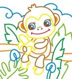 O livro para colorir do macaco come Fotografia de Stock