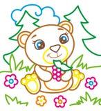 O livro para colorir do urso come framboesas Fotos de Stock Royalty Free