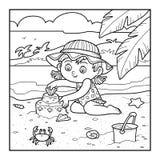 O livro para colorir para crianças, menina constrói um castelo da areia ilustração do vetor