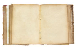 O livro velho aberto isolou-se no branco Fotos de Stock Royalty Free