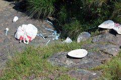 O lixo público britânico as balizas de Brecon fotos de stock
