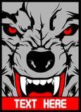 O lobo do vetor com dentes aguçados entrega o desenho ilustração royalty free