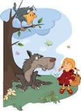 O lobo e os desenhos animados da capa de equitação vermelha pequena ilustração stock