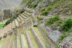 O local arqueológico do Inca antigo arruina Ollantaytambo perto de Cusco, Peru Fotos de Stock Royalty Free