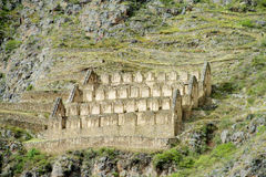 O local arqueológico do Inca antigo arruina Ollantaytambo perto de Cusco, Peru Imagem de Stock