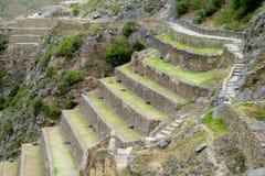 O local arqueológico do Inca antigo arruina Ollantaytambo perto de Cusco, Peru Imagem de Stock Royalty Free
