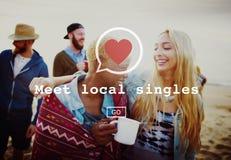 O Local da reunião escolhe datar Valentine Romance Heart Love Passion Imagem de Stock Royalty Free