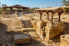 O local de Jordan River Baptism imagem de stock