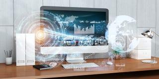 O local de trabalho com dispositivos e holograma modernos seleciona a rendição 3D Foto de Stock Royalty Free