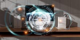O local de trabalho com dispositivos e holograma modernos seleciona a rendição 3D Foto de Stock