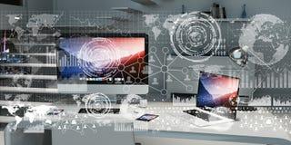 O local de trabalho com dispositivos e holograma modernos seleciona a rendição 3D Fotografia de Stock Royalty Free