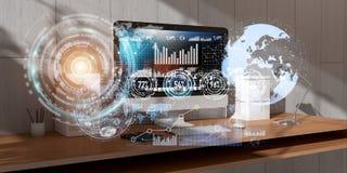 O local de trabalho com dispositivos e holograma modernos seleciona a rendição 3D Fotos de Stock Royalty Free