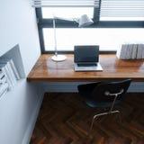 O local de trabalho no projeto minimalistic interior branco novo 3d do estilo ren Fotografia de Stock Royalty Free