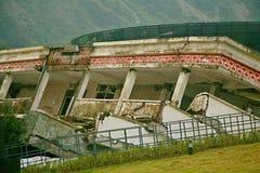 O local do terremoto na escola secundária de Xuan Kou imagem de stock