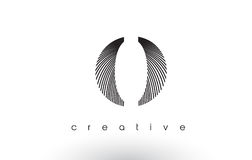 O Logo Design With Multiple Lines and Black and White Colors. Royalty Free Stock Photo