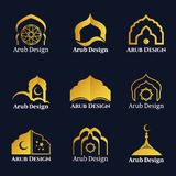 O logotipo árabe das janelas e das portas do ouro vector a cenografia ilustração stock