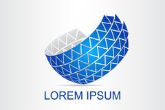 O logotipo abstrato da tecnologia estilizou a superfície esférica com formas abstratas imagens de stock