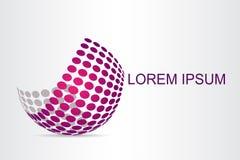 O logotipo abstrato da tecnologia estilizou a superfície esférica com formas abstratas imagens de stock royalty free