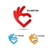 O logotipo criativo do sumário da forma da mão e do coração projeta Symbo aprovado da mão ilustração do vetor