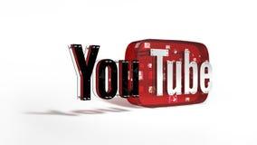 O logotipo 3D do tipo Youtube Fotos de Stock