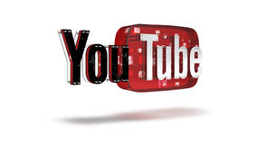O logotipo 3D do tipo Youtube Foto de Stock